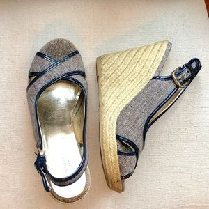 Banana Republic navy espadrille wedge sandals